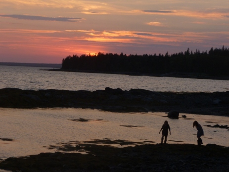 Children at Seal Cove at Sunset