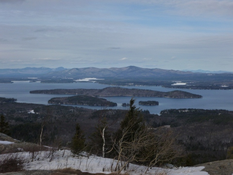 View North to the mountains with Rattlesnake island in the foreground