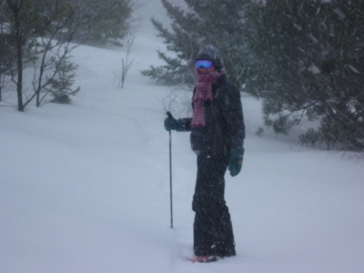 prepared for the blowing snow and strong winds at the top