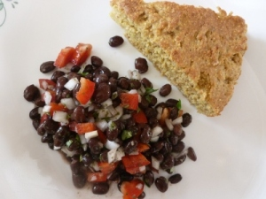 enjoying corn bread and black bean salad