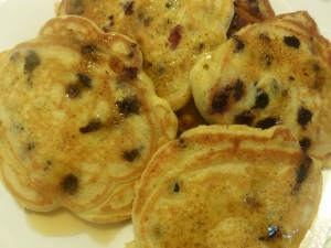 blueberry pancakes with real maple syrup