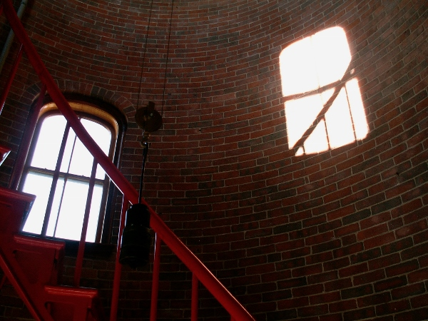 I like how the window shaped sun patch echos the actual window in this picture inside the Race Point Lighthouse on Cape Cod