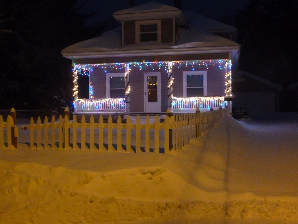 winter street (how fitting for this cold morning!) a little bungalow house I've always liked.  driveway is full of snow.
