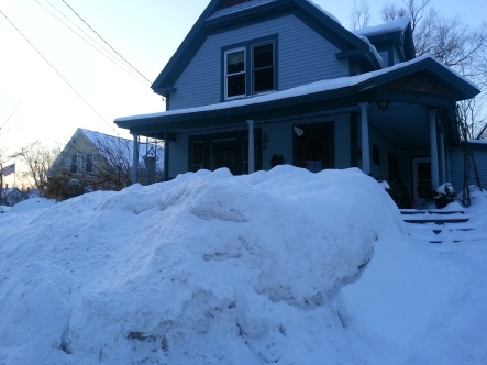 snow bank in front of our house